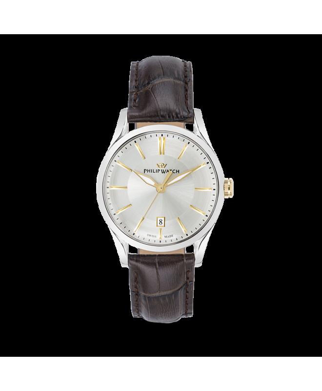 Philip Watch Sunray 39mm 3h white/s dial brown strap uomo - galleria 1