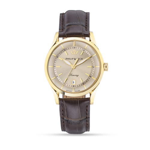 Philip Watch Sunray 39mm 3h grey dial brown strap yg uomo