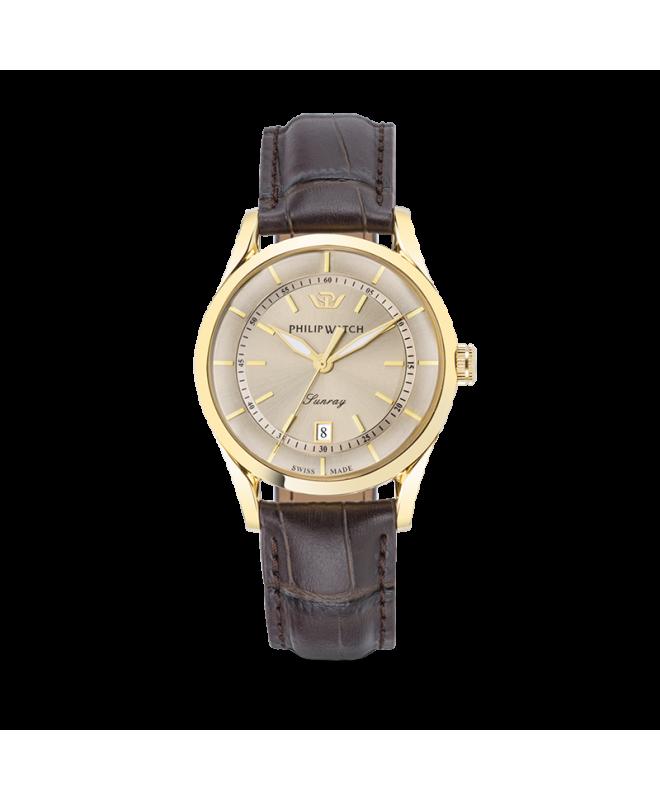 Philip Watch Sunray 39mm 3h grey dial brown strap yg uomo - galleria 1
