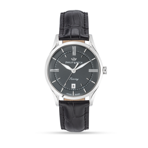 Philip Watch Sunray 39mm 3h grey dial black strap ss uomo