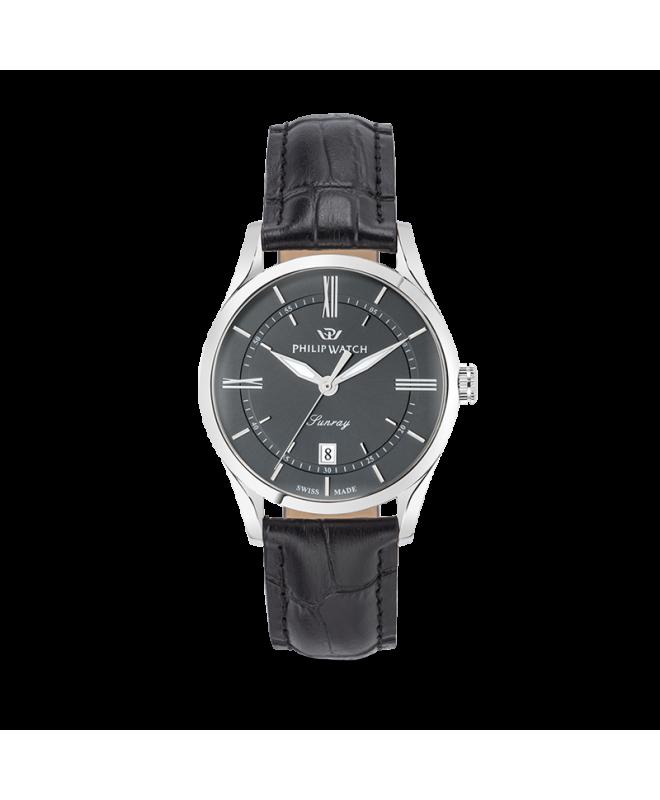 Philip Watch Sunray 39mm 3h grey dial black strap ss uomo - galleria 1