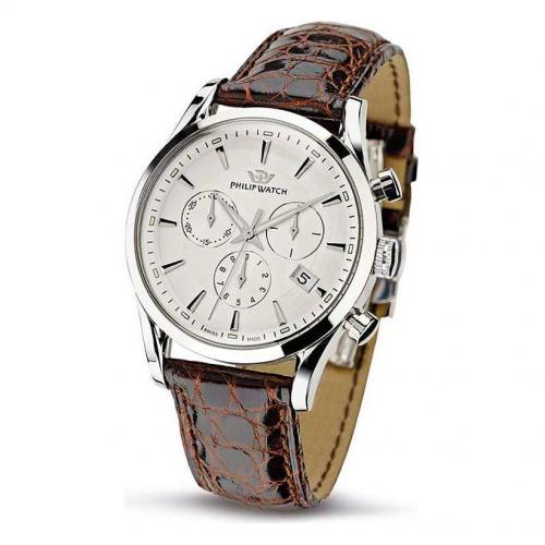 Philip Watch Sunray chr white dial/brown strap uomo R8271908003