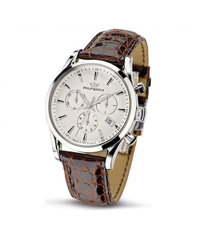 Philip Watch Sunray chr white dial/brown strap uomo R8271908003 - galleria 1