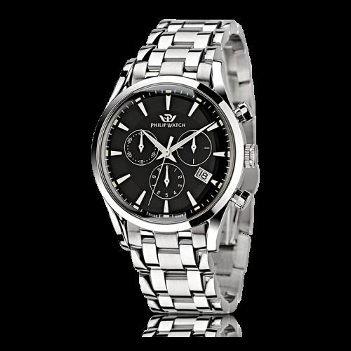 Philip Watch Sunray chr black dial/bracc uomo R8273908165