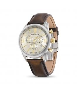 Philip Watch Seahorse chr yg details/brown strap