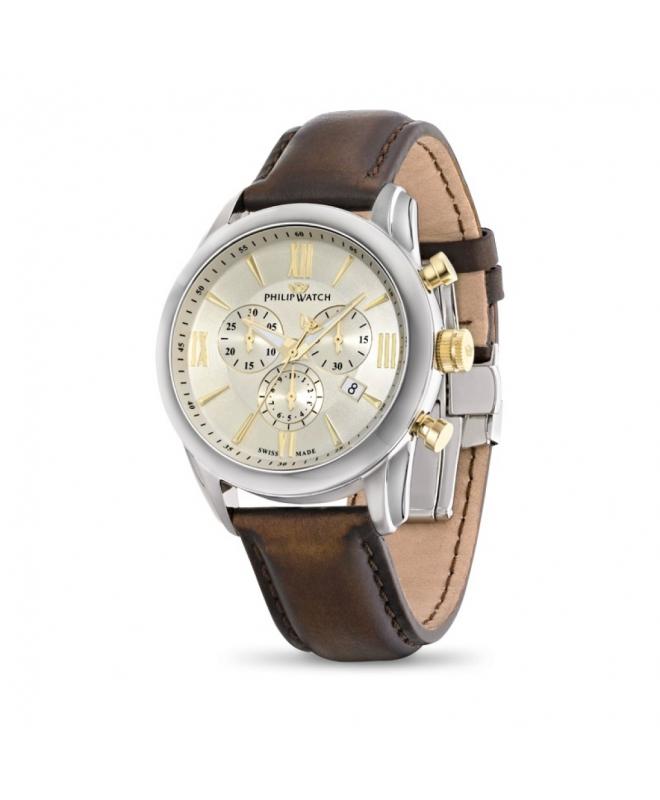 Philip Watch Seahorse chr yg details/brown strap uomo - galleria 1