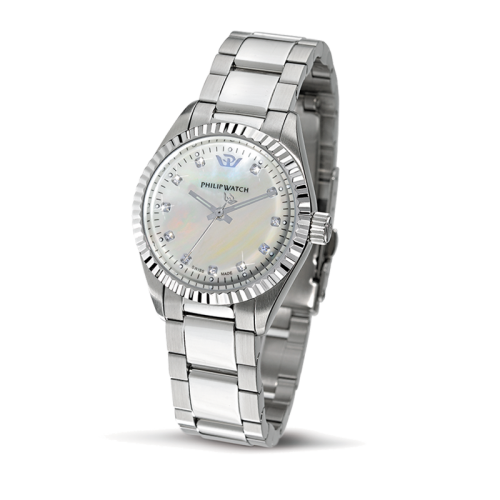 Philip Watch Caribe lady 3h ss white mop dial/br. donna