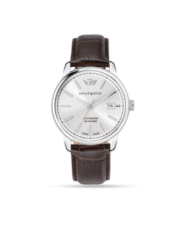 Philip Watch Kent 40mm auto silver dial brw strap ss