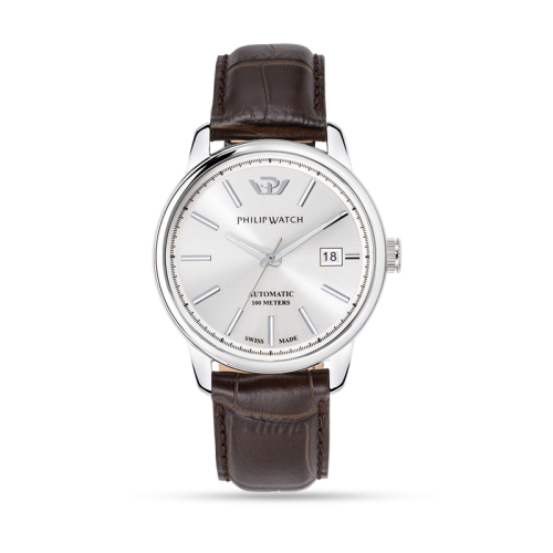 Philip Watch Kent 40mm auto silver dial brw strap ss uomo