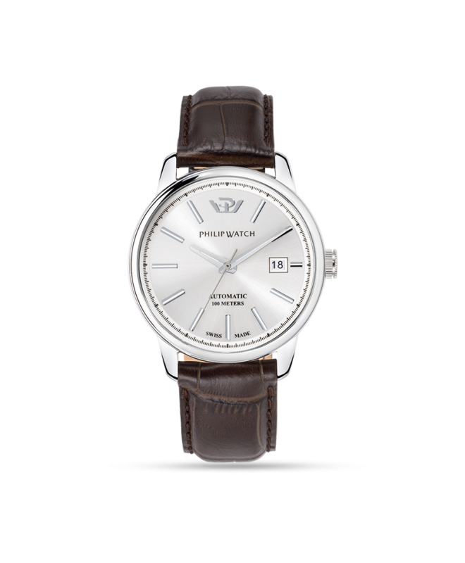 Philip Watch Kent 40mm auto silver dial brw strap ss uomo - galleria 1