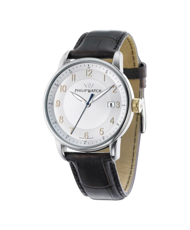 Philip Watch Kent 3h silver white dial/strap uomo R8251178004 - galleria 1