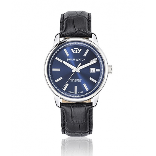 Philip Watch Kent 40mm 3h blue dial strap uomo R8251178008
