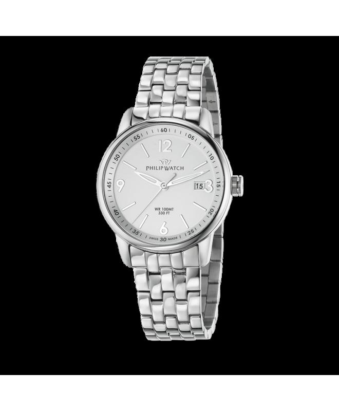 Philip Watch Kent 3h white mattt dial bracelet uomo R8253178005 - galleria 1