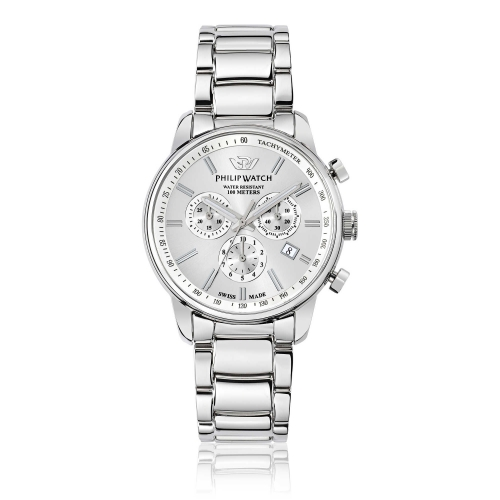 Philip Watch Kent 43mm chr wht/silver dial br uomo R8273678005