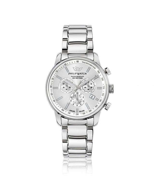 Philip Watch Kent 43mm chr wht/silver dial br uomo R8273678005 - galleria 1