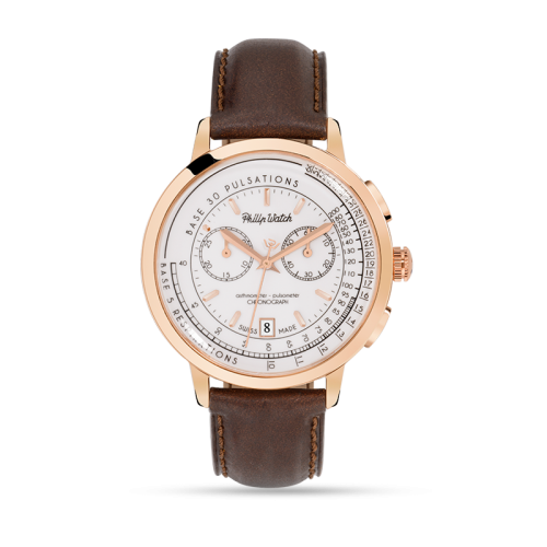 Philip Watch Grand archive 1940 43 chr wht dial br st uomo