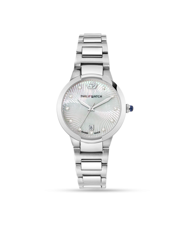 Philip Watch Corley 34mm 3h white dial br ss donna R8253599502 - galleria 1