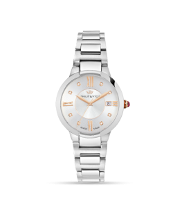 Philip Watch Corley 34mm 3h silver dial w/diam br ss