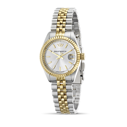 Philip Watch Caribe 3h white silver dial bracelet donna