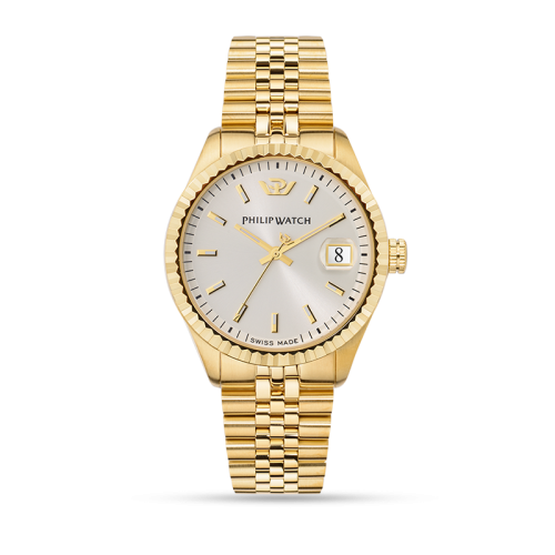 Philip Watch Caribe 39mm 3h beige dial bracelet yg uomo
