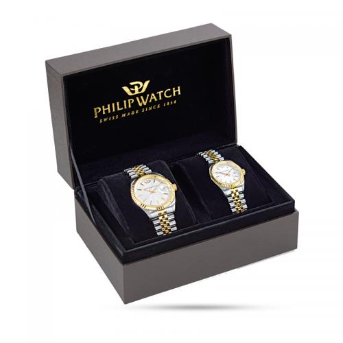 Special box con due orologi Philip Watch Caribe uomo donna uomo
