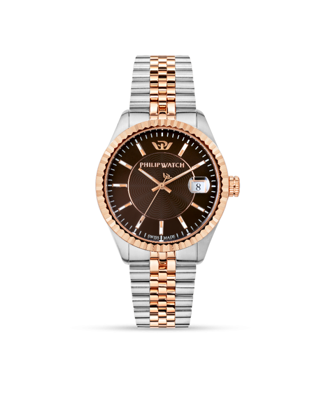 Philip Watch Caribe 39mm 3h brown dial br rg/ss uomo R8253597027 - galleria 1