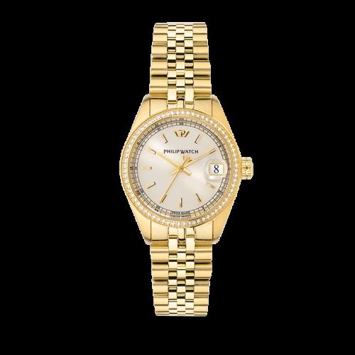Philip Watch Caribe 31mm 3h w/diam beige dial br yg donna