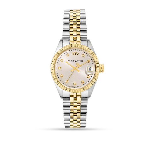 Philip Watch Caribe 31mm 3h w/sil dial w/dia br yg/ss donna