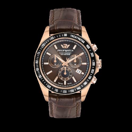 Philip Watch Caribe 42mm chr brown dial black st uomo