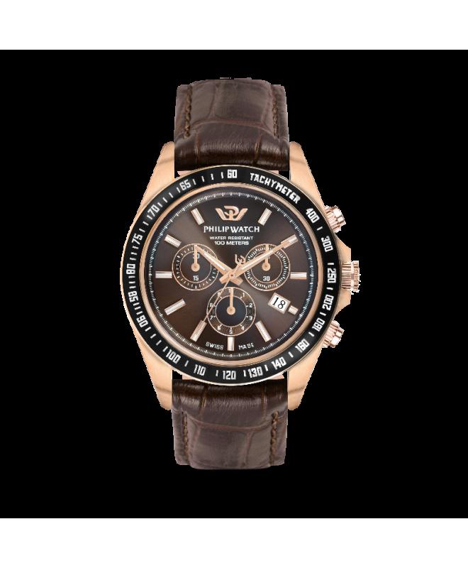 Philip Watch Caribe 42mm chr brown dial black st uomo - galleria 1