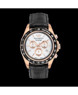 Philip Watch Caribe 42mm chr w/silver dial black st
