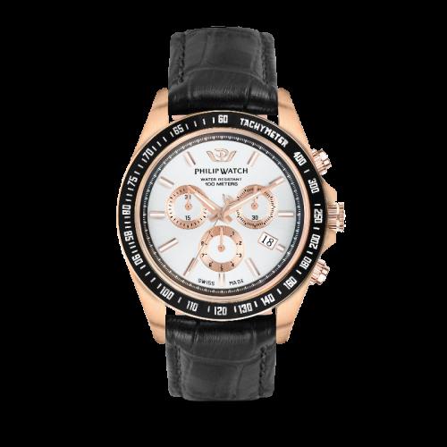 Philip Watch Caribe 42mm chr w/silver dial black st uomo