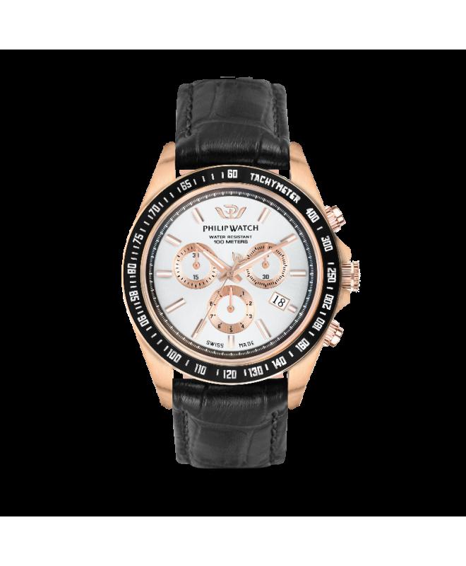 Philip Watch Caribe 42mm chr w/silver dial black st uomo - galleria 1