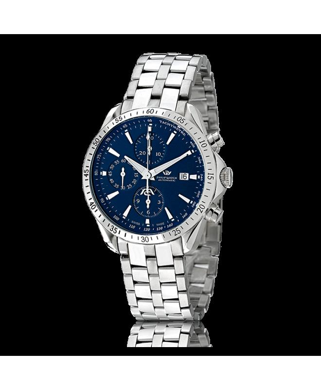 Philip Watch Blaze chr.aut.blue d.brac. uomo R8243995035 - galleria 1