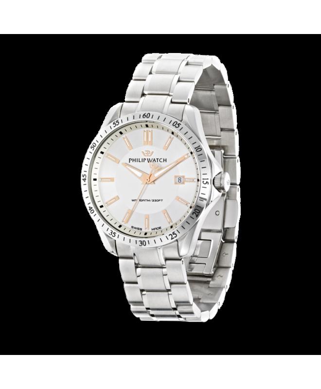 Philip Watch Blaze 3h white silver dial bracelet uomo - galleria 1
