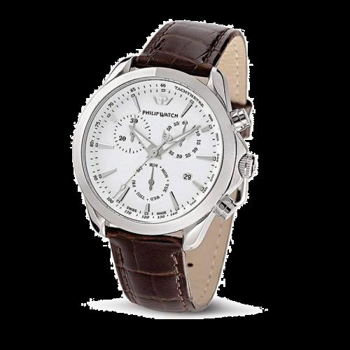 Philip Watch Blaze chr silver white dial/brown strap uomo
