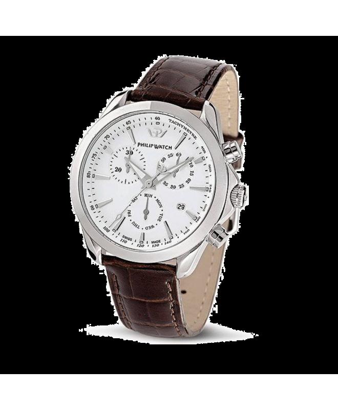 Philip Watch Blaze chr silver white dial/brown strap uomo - galleria 1