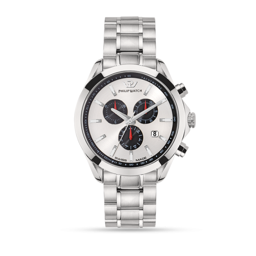 Philip Watch Blaze 41mm chr 6h w/silver dial br ss uomo