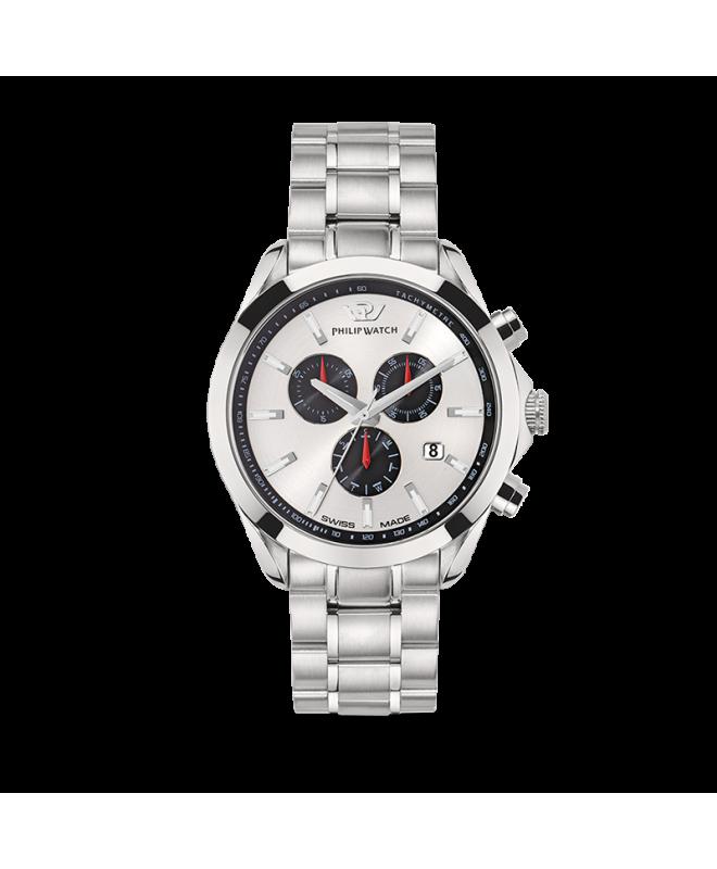 Philip Watch Blaze 41mm chr 6h w/silver dial br ss uomo - galleria 1