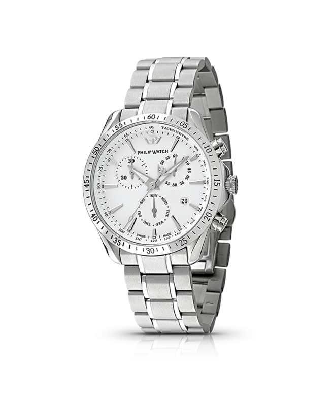Philip Watch Blaze chr white dial/ bracc. uomo R8273995215 - galleria 1