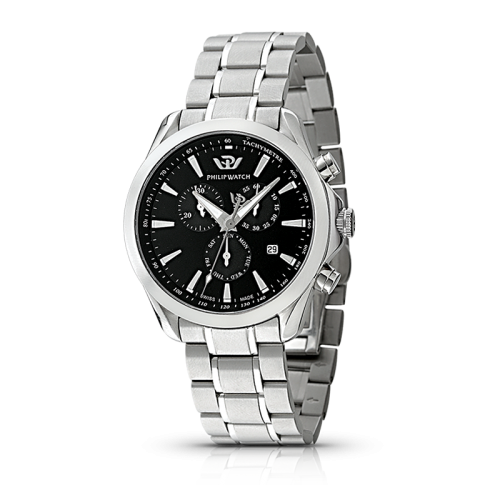 Philip Watch Blaze chr quartz black dial/br. uomo R8273995225