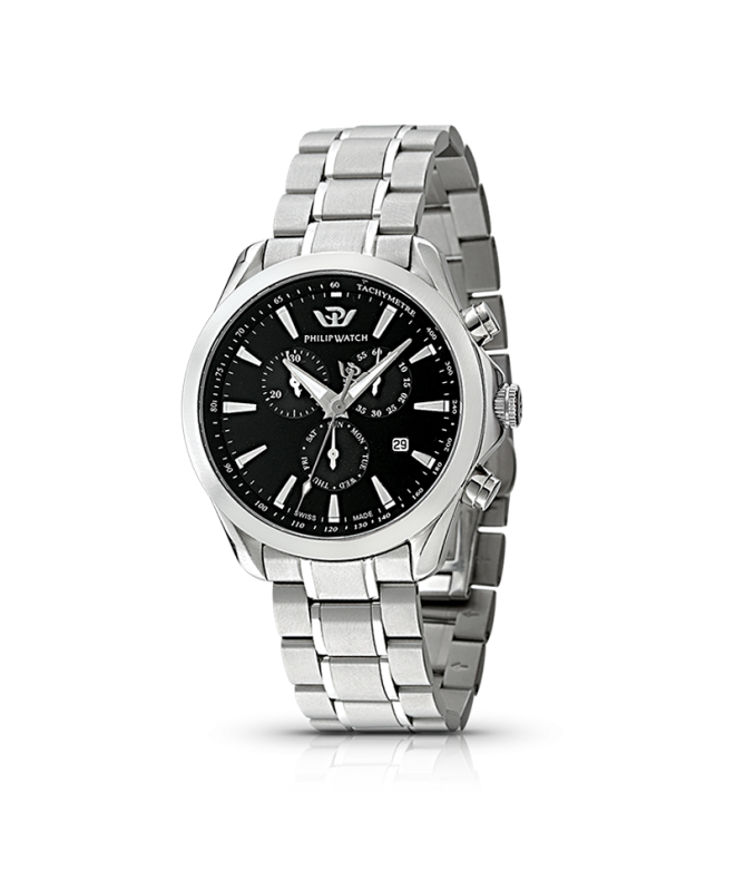 Philip Watch Blaze chr quartz black dial/br. uomo R8273995225 - galleria 1