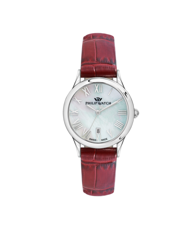 Philip Watch Marilyn 31mm 3h mop natural dial red st donna - galleria 1