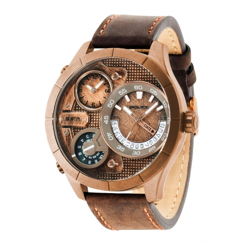 Police Bushmaster triple time rg dial brown st
