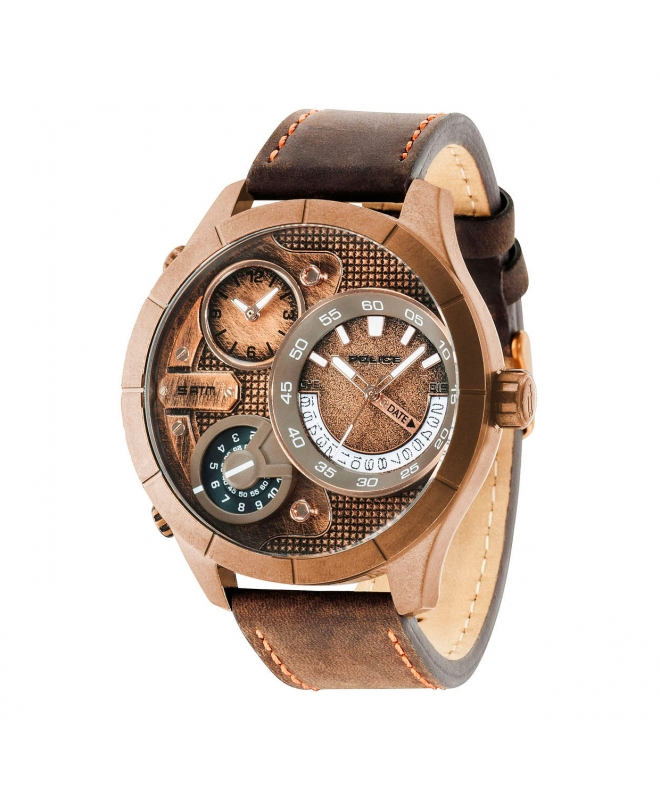 Police Bushmaster triple time rg dial brown st - galleria 1