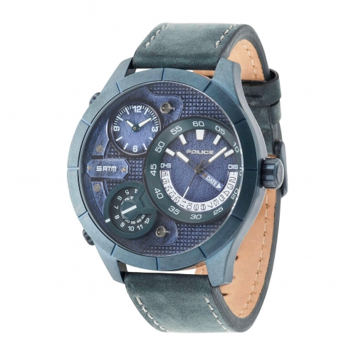 Police Bushmaster triple time blue dial blue st