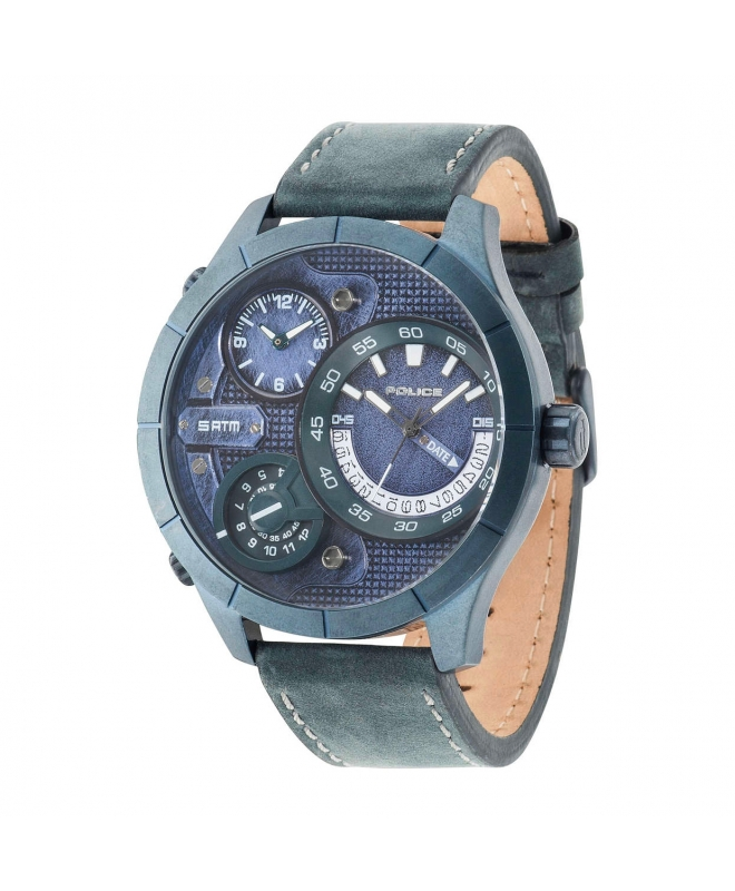 Police Bushmaster triple time blue dial blue st - galleria 1