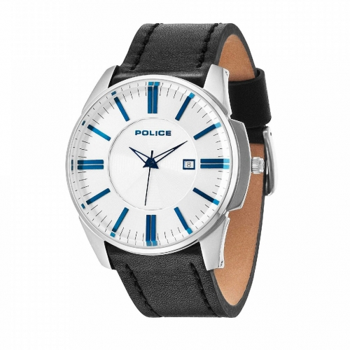 Police Governor 3h silver dial black leather st