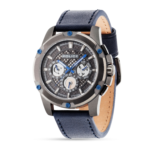 Police Grid multi grey dial d.blue strap