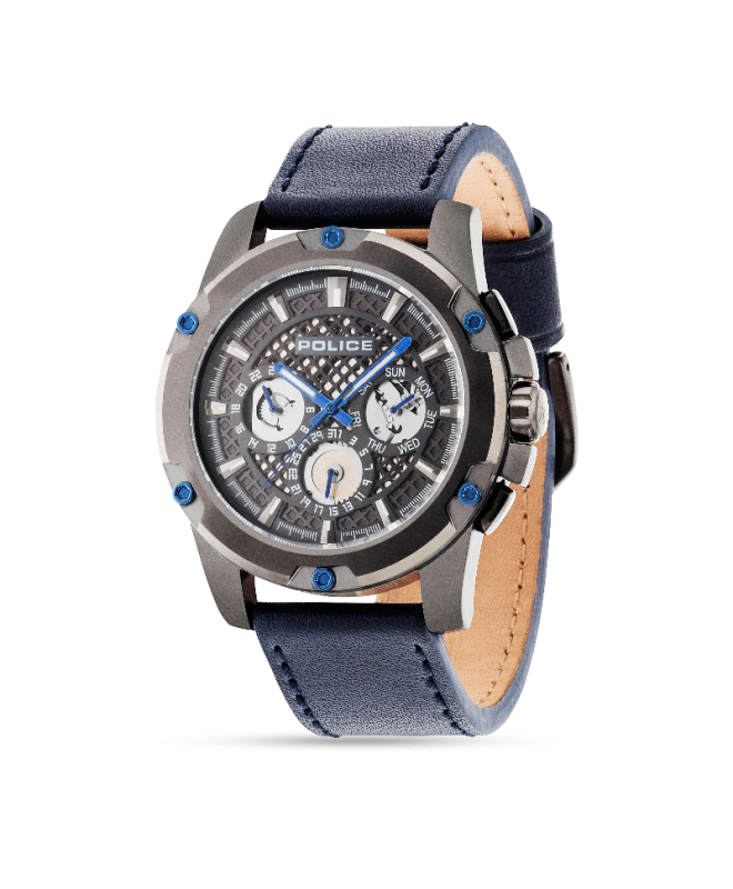 Police Grid multi grey dial d.blue strap - galleria 1